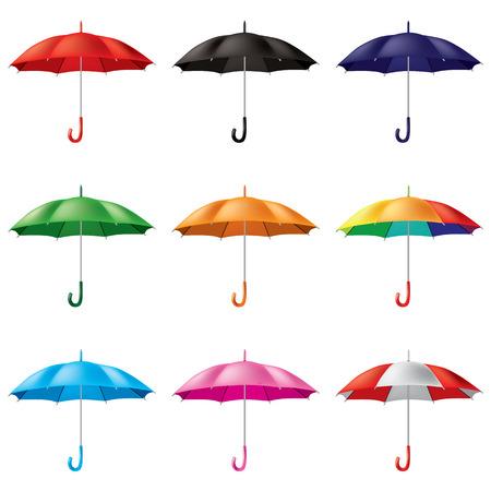 rainy days: umbrellas in different colours Illustration