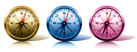 compasses in different colours