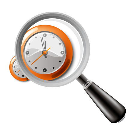 minute: magnifying glass with clock Illustration