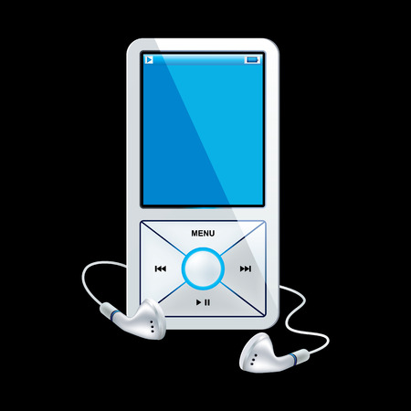 portable audio: mp3 player white Illustration