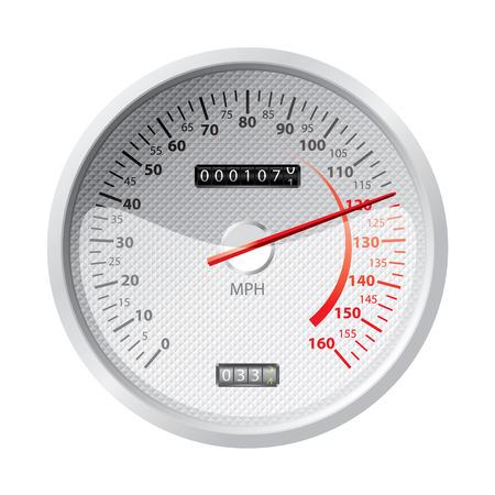 miles: white speedometer Illustration