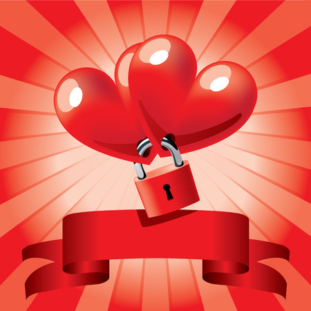 locked hearts Stock Vector - 8214902