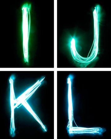 J: letters painted with light