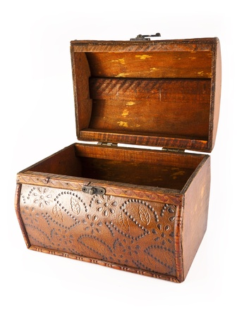 empty wooden chest Stock Photo