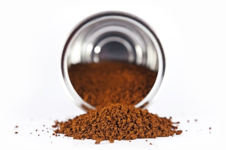 coffee spilled from the can Stock Photo