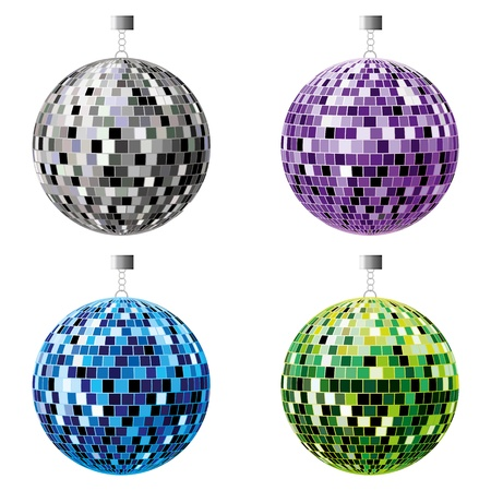 The four disco balls, black, purple, blue and green on a white background.