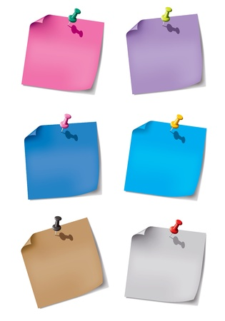 Colorful paper for the reminder and pin stripes on a white background with gray shadows. Vector