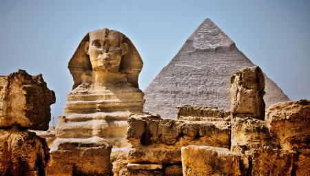 hdr: HDR Image. Sphinx in the foreground, background Pyramid of Khafre, Giza, Cairo, Egypt.
