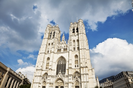 striving: The beautiful Gothic cathedral St. Michael and St. Gudula striving for a blue sky, Belgium, Brussel, Europe.