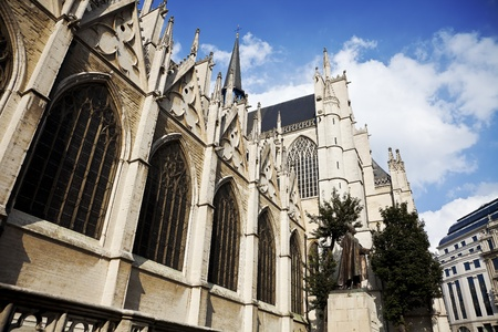 michael: The beautiful Gothic cathedral St. Michael and St. Gudula and monument in front of the cathedral. Stock Photo