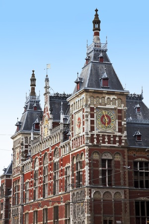 Great Central Station in Amsterdam and the clear, blue sky over the station. photo