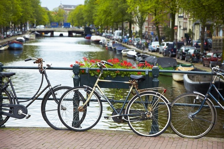 Flowers blossom and bicycles on a small bridge in Amsterdam.