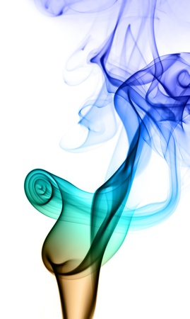 Flower of the smoke to spiral in part on a white background. photo