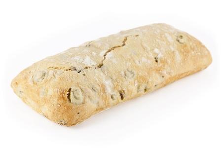 Delicious fresh ciabatta bread on a white background  Stock Photo