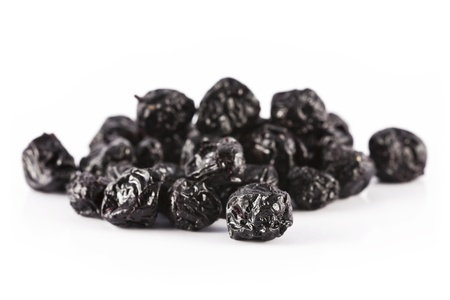 A few dry fruits, dried aronia on a white background.