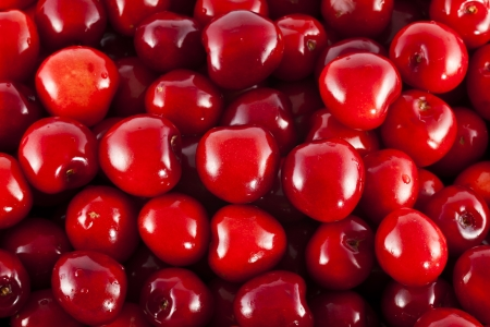 A bunch of fresh cherries without stems