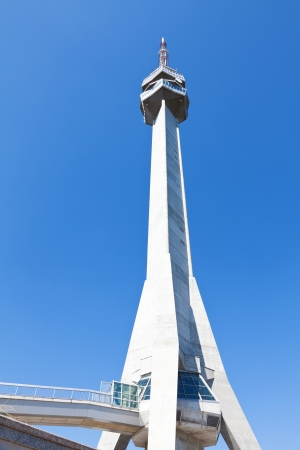 Avala Tower photographed from below and clear blue sky  photo