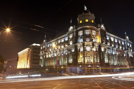 Nighttime images of the central part of the Serbian Ministry of Foreign Affairs Stock Photo - 16799069