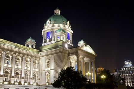 Nighttime images of the Serbian parliament, floodlights illuminated