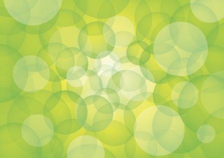 bluish: Green circles on white rays of light and bluish background