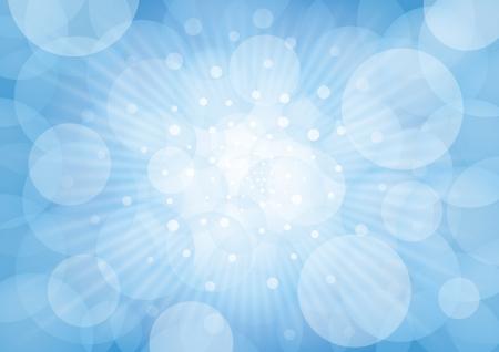 Bluish circles on white rays of light and bluish background  Stock Photo