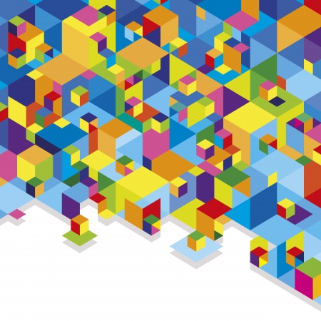 Geometric abstraction stack of blue and multicolored cubes.