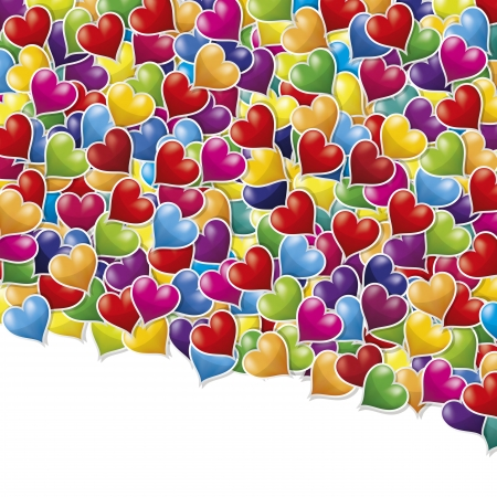 Colorful glossy hearts spilled on a white background. photo