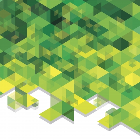Green abstraction, composed of green and yellow bricks, different shades.
