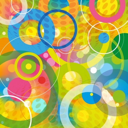 Play multicolored circles and light on the colorful background  Illustration