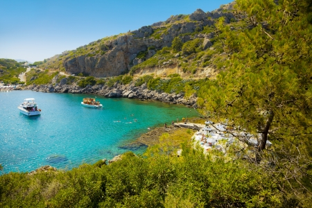 Anthony Quinn beach in a small beautiful bay