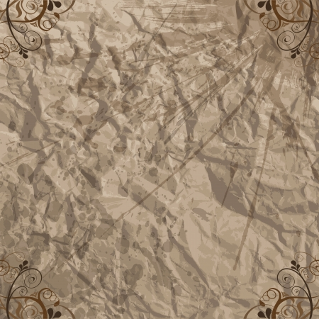 Crumpled paper with lots of stains and floral elements  Vector