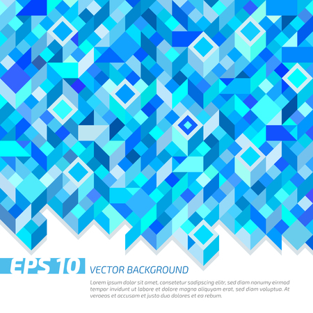 bluish: Abstract geometric shapes, rhombuses  and rectangles in bluish tones.