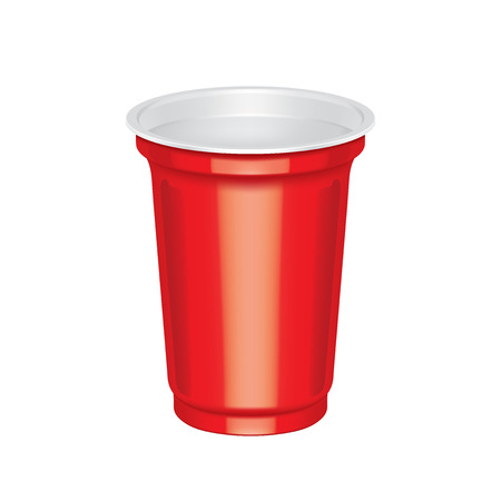 bar ware: Empty red plastic cup on a white background.