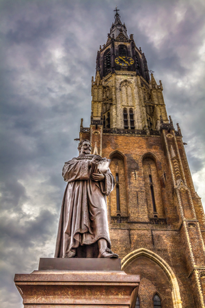 westerkerk: City center with Grote Markt, churches and the statue of Hugo Grotius, Delft, Holland. HDR Image.
