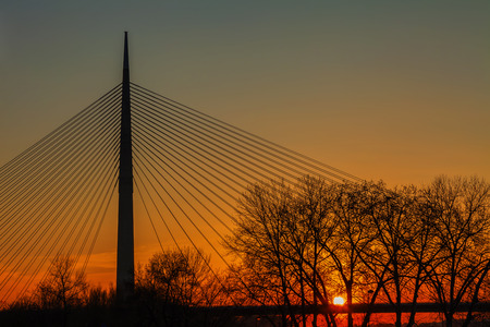 suspend: The highest bridge in the world with one carrier pylon, Belgrade, Serbia, HDR Image.