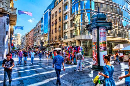 SERBIA, BELGRADE - JULY 26: Knez Mihajlova Street on July 26, 2017 in Belgrade. Gallery Progres, shops, street stalls and people, HDR Image. Editorial