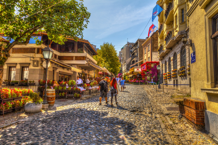 SERBIA, BELGRADE - SEPTEMBER 1: Restaurant Little Sparrow in Skadarska Street on September 1, 2017 in Belgrade. Old restaurants, cobblestones and lots of greenery. HDR Image. Editorial