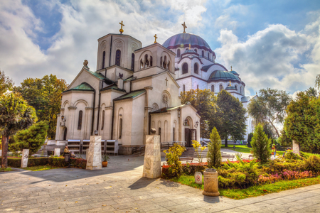 Church of St. Sava and the great temple of St. Sava. HDR image 스톡 콘텐츠