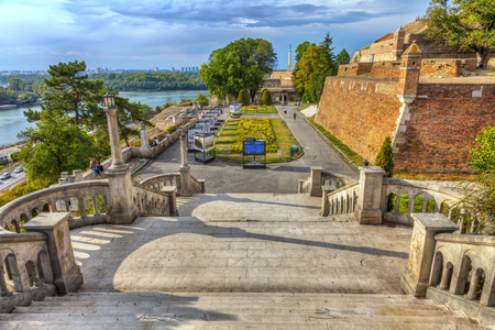 SERBIA, BELGRADE - SEPTEMBER 19: Exhibition in the open space, Kalemegdan on September 19, 2017 in Belgrade. Kalemegdan Fortress and a monument to the Victor. HDR Image. Editorial