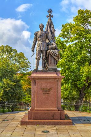 nikolay: Monument to Russian Emperor Nikolay II in King Milan Street, HDR Image. Stock Photo