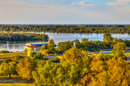 View of the Nebojsa Tower and the mouth of the Sava River into the Danube, HDR image. 写真素材