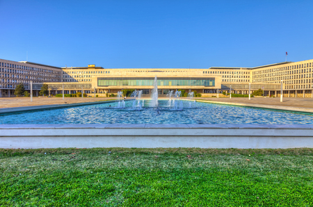 Great fountain in front of the monumental building of the Palace of Serbia, HDR image. Stock Photo