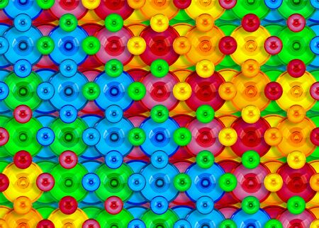 Colorful circles, small and larger in rainbow colors.