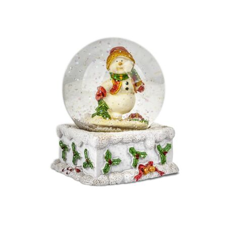 Christmas snow globe isolated on white with snowman.