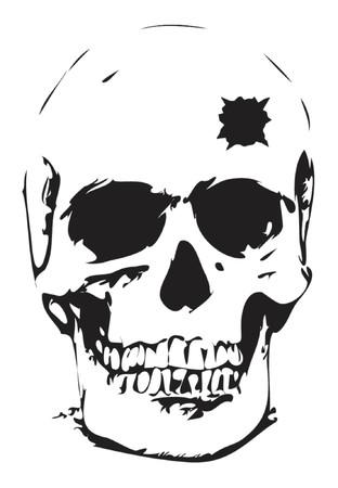 human skull: Bullet hole skull - vector illustration Illustration