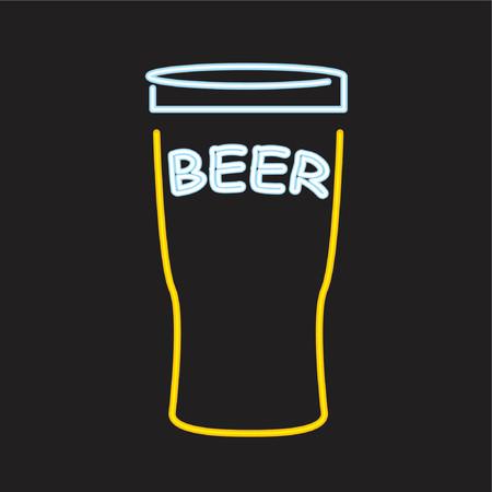 Neon beer sign - vector