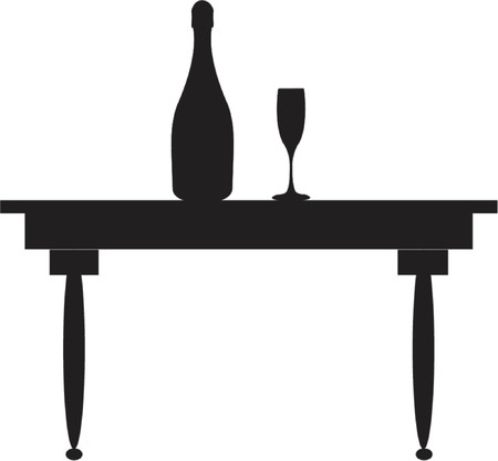 Champagne, glass & table silhouette - vector illustration