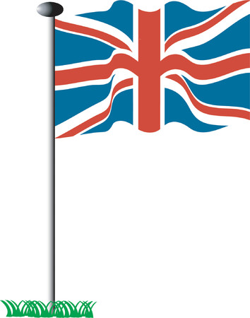 Union Jack on a pole - vector illustration Stock Vector - 604551