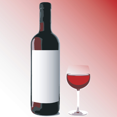 Bottle & glass of red wine with place for your text on the label - vector illustration