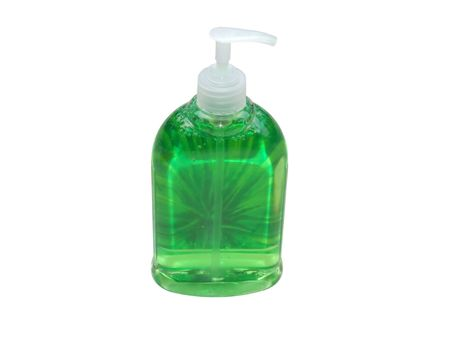 Green soap in container with clipping path